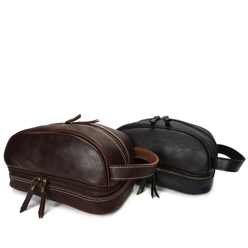 Mannen Clutch Cosmetische Tas Vintage Echt Lederen Reizen Stuff Make Up Tas Multifunction Handtas Voor Man Mannelijke Reizen Organizer-in Cosmetische tas & Koffers van Bagage & Tassen op  Groep 1