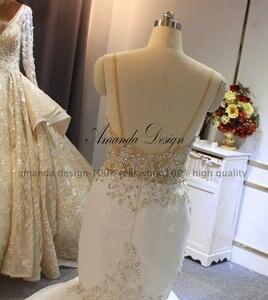 Image 3 - אמנדה עיצוב robe דה mariee בוהם ספגטי רצועות בת ים סקסי שמלות כלה