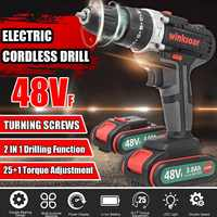 48VF 2-Speed Cordless Electric Screwdriver Impact Drill 25+1 Torque Rechargeable LI-ION Battery Electric Drill Power Tools
