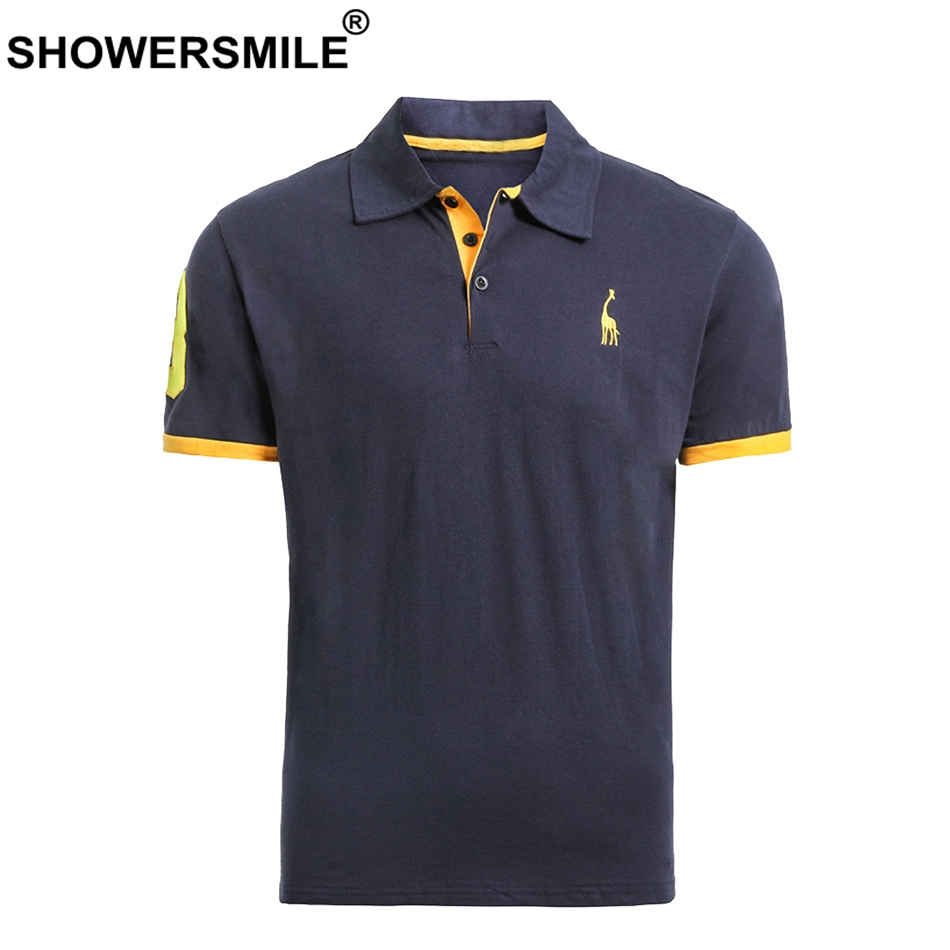 SHOWERSMILE Embroidery Polo Shirt Men 100% Cotton Navy Tees Male Letter Deer Pattern Casual Summer Short Sleeve Polo T Big Size