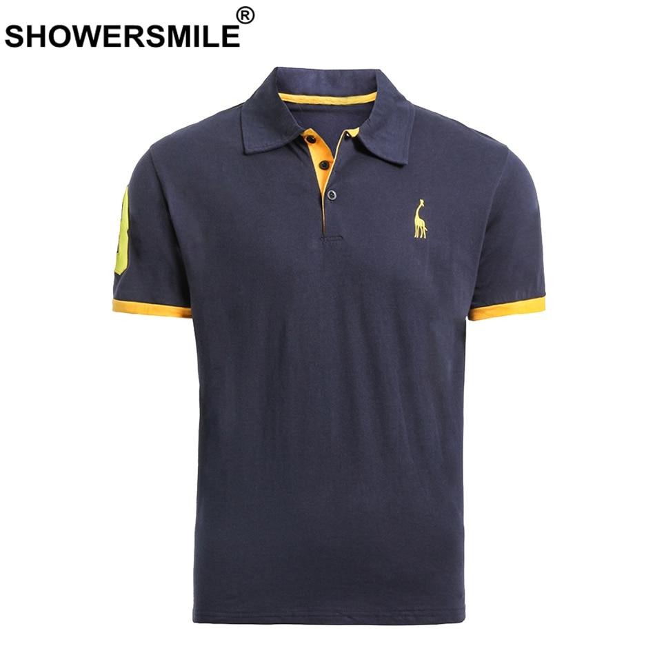 Oberteile Und T-shirts Polo Showersmile Stickerei Polo Shirt Männer 100% Baumwolle Navy T-shirts Männlichen Brief Deer Muster Casual Sommer Kurzarm Polo T Große Größe VerrüCkter Preis