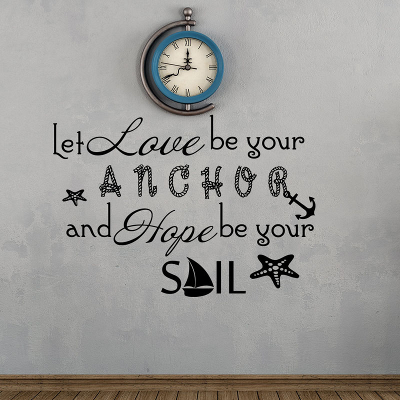 Zooyoo Let Love Be Your Anchor Quote Wall Stickers Home Decor Vinyl