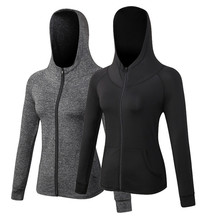 KARYZON Hooded Sport Jacket Women Running Gym Quick dry Long Sleeved Clothes Zipper Fitness Yoga Shirts Breathable Sweatshirt