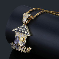 Trap House Pendant Aaa Cz Bling Purple Iced Out Micro Paved Money Bag Necklace Tennis Chain Men's Hiphop Jewelry