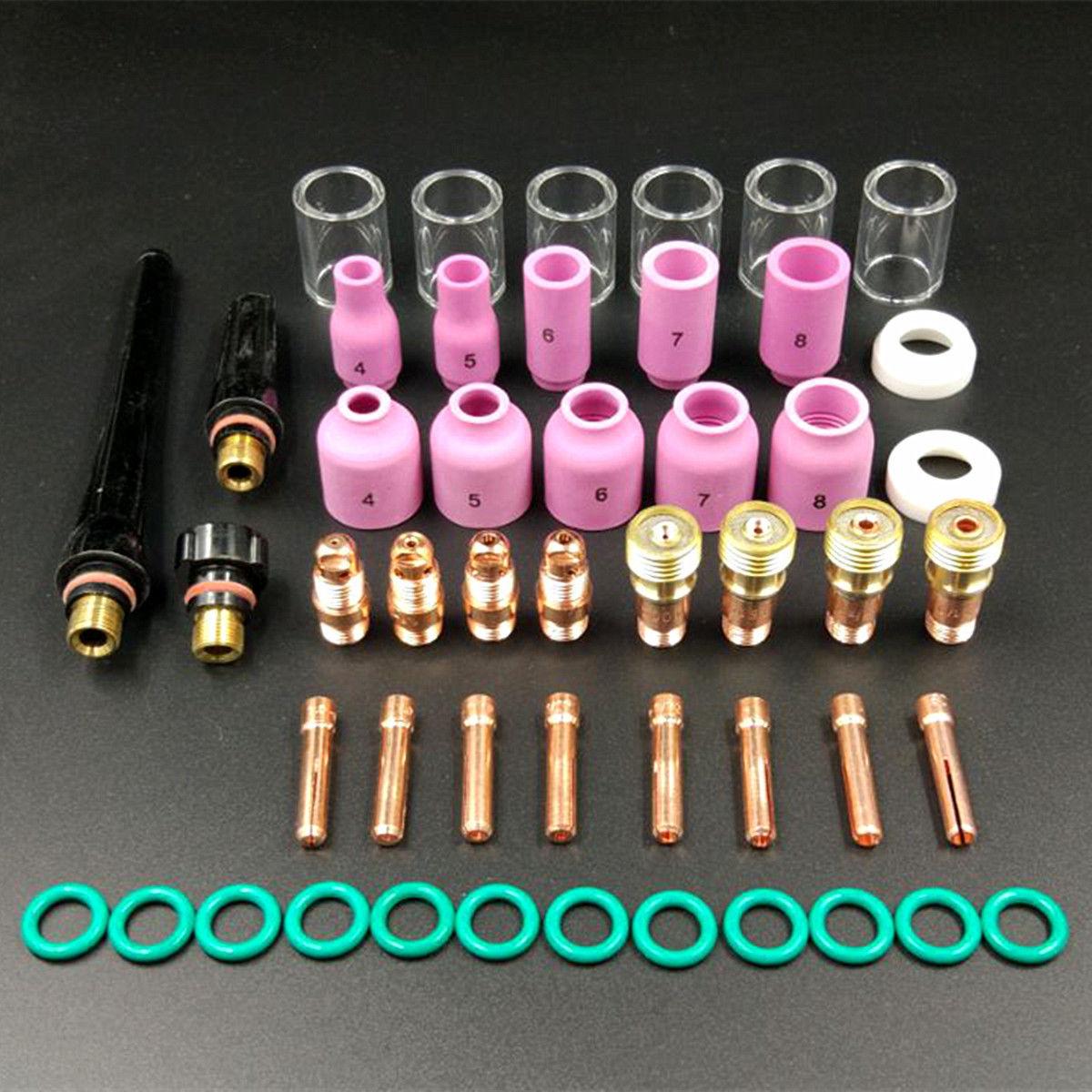 49 stücke Neue Wig-schweißen Kit Durable Schweißen Taschenlampe Stubby Gas Objektiv #10 Pyrex Glas Tasse Kit Für WP-17 /18/26 Mayitr