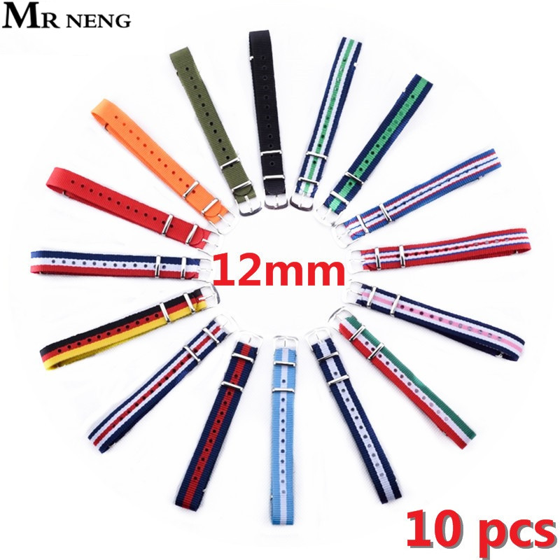 MR NENG 10 pieces / lot High quality Nato watchband 12 mm Men's Nylon Sport Wrist Watch Band Strap 12mm Military Army 16 Colors 22mm nylon watchband for pebble time steel smart watch band nato army military fabric strap wrist bracelet multi colors tool