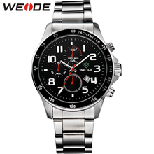 Top Sale! WEIDE Men Full Steel Watch Men Luxury Brand Sporty Military Watches 3ATM Waterproof relojes free shipping for men 3308 все цены
