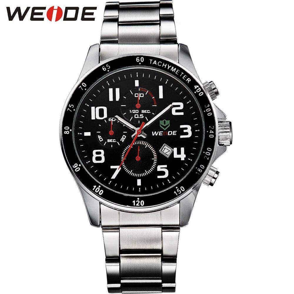 ФОТО WEIDE Men Watch Full Steel Male Watch Men Luxury Brand Sport Military Watch 3 ATM Waterproof Relojes Mens Analog Watch / WH3308