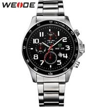 WEIDE de Los Hombres Reloj de Acero Completo Reloj Masculino Hombres de la Marca de Lujo Del Deporte militar Reloj 3 ATM Impermeable Relojes Para Hombre Del Reloj Análogo/WH3308