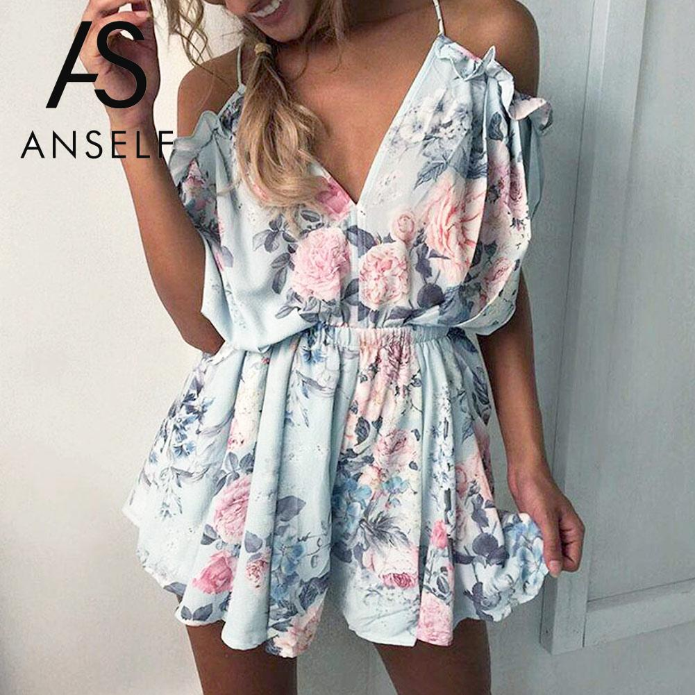 Anself Summer Floral Print Ruffles Bodysuit Women Playsuit Sexy Off Shoulder   Jumpsuits   Rompers Plus Size Beach Short Overalls