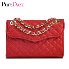 Brand Women Real Leather Flap Bag Luxury Diamond Pattern Genuine Female Shoulder Ladies Gold Chain