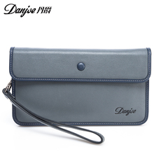New business fashion real cowhide day clutch genuine cow leather men wallet bag handbag long real leather solid brand