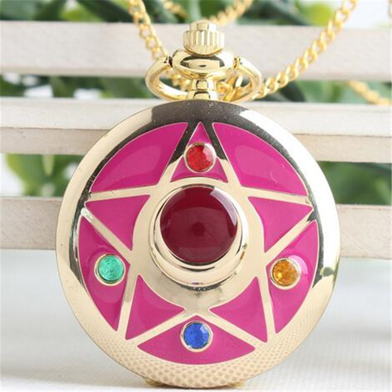 Anime Sailor Moon Life With Sailor Moon Crystal Star Pocket Watch Model Pendant Toy Necklace Gift Collection anime pocket monster sailor moon totoro zootopia etc jewelry cell phone drawstring pouch wedding party gift bag draph variety
