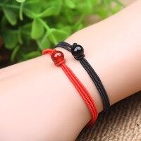 2 أجزاء الأحمر + الأسود سلسلة سوار حبل اليدوية النسيج غرامة سنة من مصير جودة عالية عقدة حبل الرجال والنساء عشاق هدية
