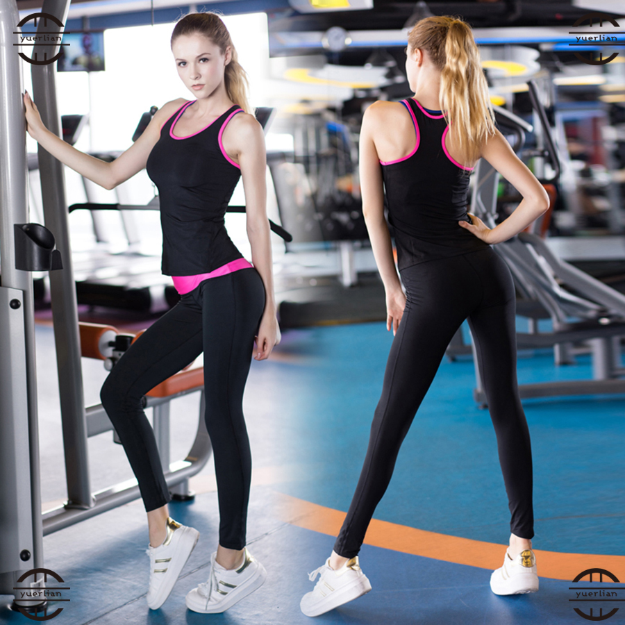 YEL 2 PCS Tights Wicking Running Set Women Vest and Pants Sport Suit Training Tank Top Fitness Gym Polyester Tracksuit Yoga Sets dry suit