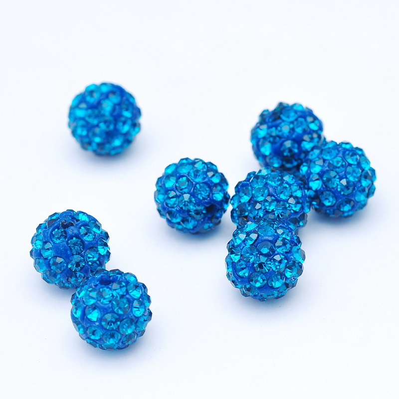 Beads necklace And Hand Catenary Making Diy Beautiful Wholesale10mm12mm14mm Vivid Blue Clay Disco Ball Pave Crystal Shamballa Beads For Jewelry