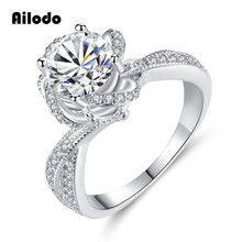 Ailodo Luxury CZ Female Rose Flower Rings Wedding Jewelry Promise Engagement For Women 2019 Valentines Day Gift LD122