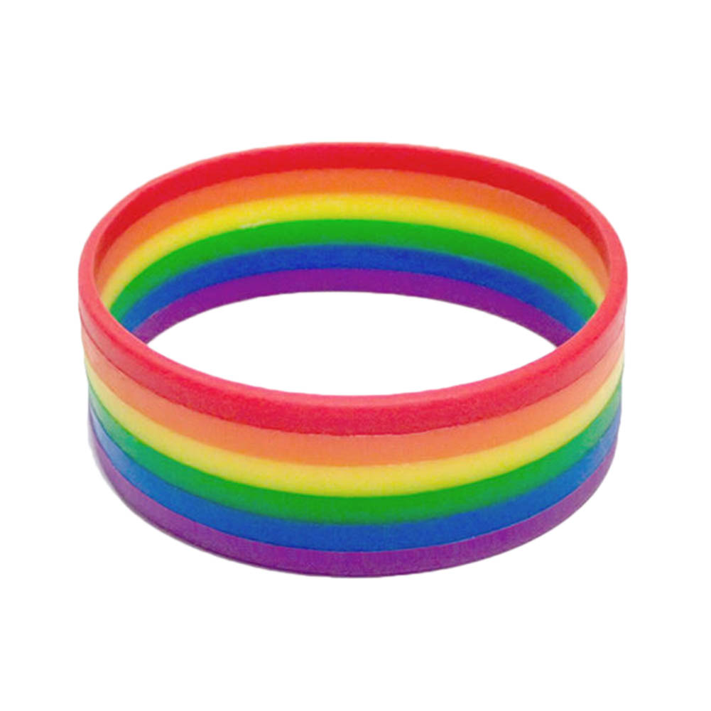2017 new fashion Silicone Rainbow Pride Bracelet Mutilayered Rubber Gay Lesbian LGBT Wristband Jewelry