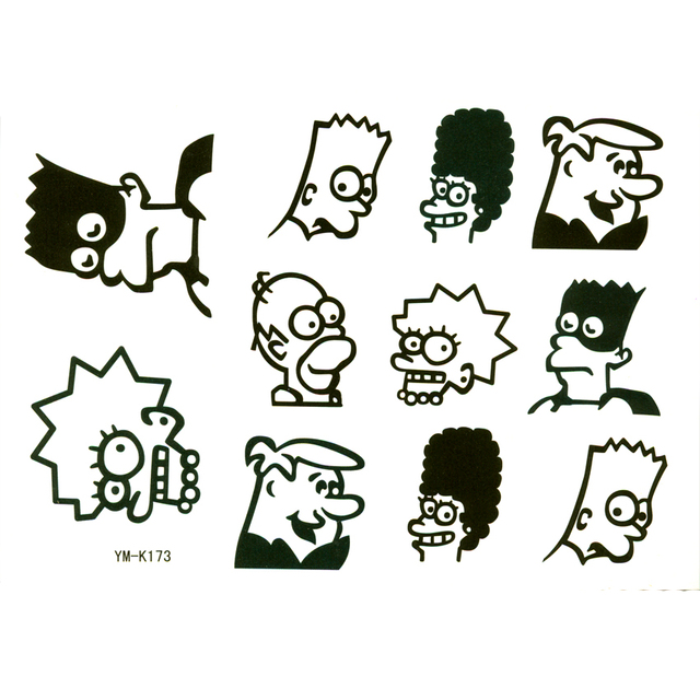The Simpson Family Temporary Tattoos Men Sticker Metallic Tattoo