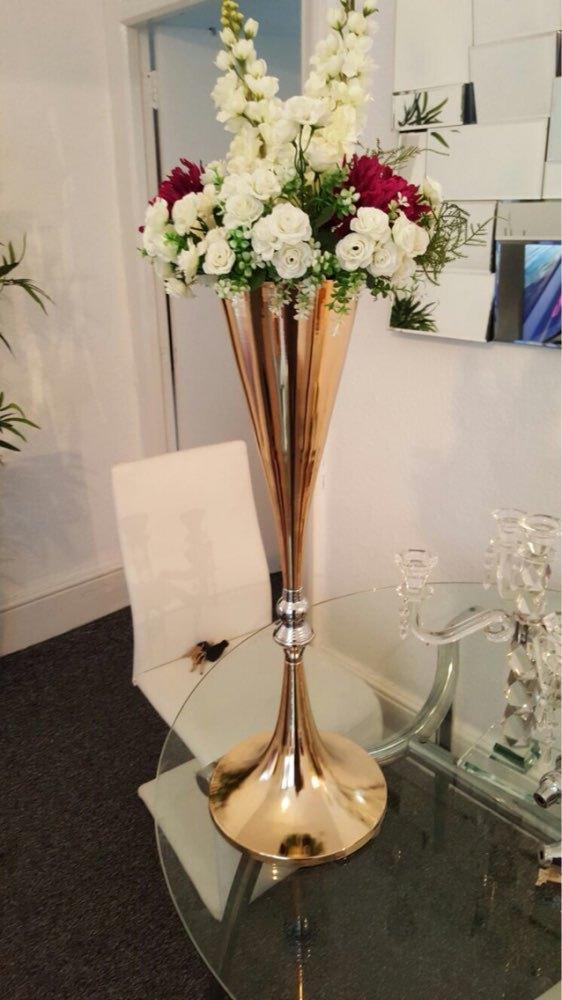 trumpet vase for wedding centerpiece  gold flower vase