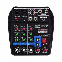 A4 çok amaçlı ses mikseri ile Bluetooth kayıt 4 kanal girişi mikrofon hattı eklemek Stereo USB oynatma ses kartı