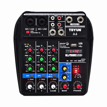 A4  Multi-purpose Audio Mixer with Bluetooth Record 4 Channels Input Mic Line Insert Stereo USB Playback Sound Card - DISCOUNT ITEM  10% OFF All Category