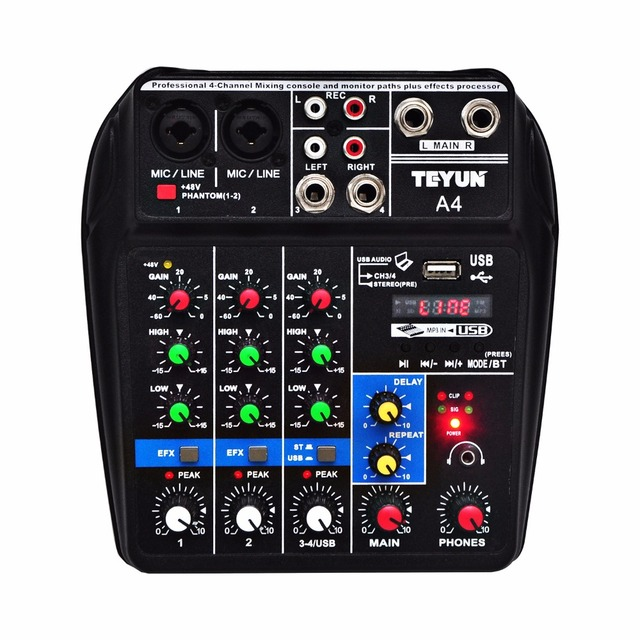 A4  Multi purpose Audio Mixer with Bluetooth Record 4 Channels Input Mic Line Insert Stereo USB Playback Sound Card