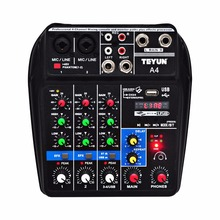 A4 Multi zweck Audio Mixer mit Bluetooth Rekord 4 Kanäle Eingang Mic Linie Einfügen Stereo USB Wiedergabe Sound Karte