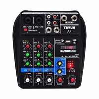 Mezclador de Audio multiusos A4 con grabación Bluetooth, entrada de 4 canales, inserción de línea de micrófono, reproducción estéreo USB, tarjeta de sonido