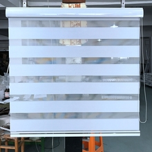 Custom Made Blackout Double Layer Roller Zebra Blinds in White Window Curtains for Living Room 12 Color are Available