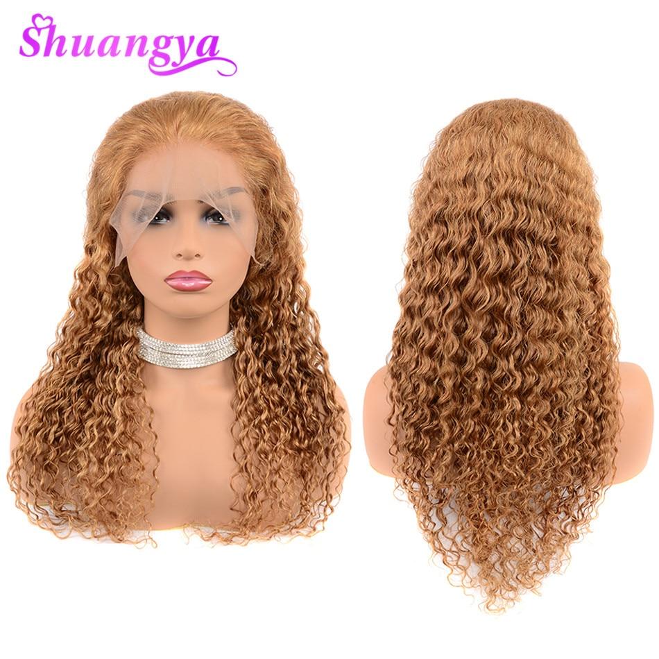 蜂蜜ブロンド人毛レースフロントかつら黒人女性のための 150% 密度色 27 ディープウェーブ人毛ウィッグ 13 × 4 Shuangya の Remy 毛  グループ上の ヘアエクステンション & ウィッグ からの 人毛レースウィッグ の中 1