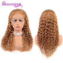 Bal sarı insan saçı dantel ön peruk siyah kadınlar için 150% yoğunluk renk 27 derin dalga İnsan saç peruk 13X4 Shuangya Remy saç
