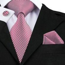 SN-1527 Hi-Tie новейший дизайнерский Галстук Hanky набор запонок Модный высококачественный мужской галстук для шеи производитель красный галстук с геометрическим рисунком на продажу
