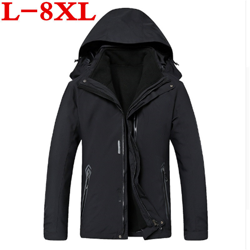 new plus size 8XL 7XL 6XL Waterproof Winter Jacket Men Warm 2 in 1 Parkas Windproof Detachable Hood Winter Coat large big size men hiking jackets big size 5xl 6xl 7xl 8xl soft shell outdoors jackets thin breathable detachable hood climbing camping coat