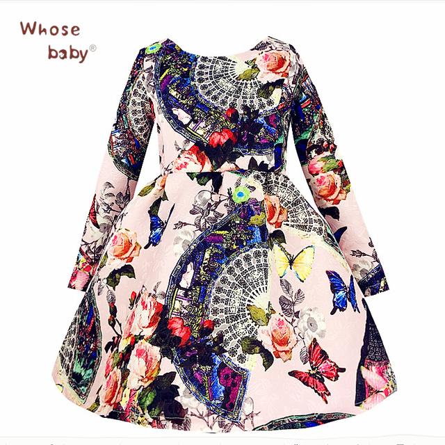 Vestidos de Princesa de navidad De La Alta Calidad de Impresión de Manga Larga Ropa de 2016 Niños Del Invierno Floral de La Mariposa de Los Niños Trajes