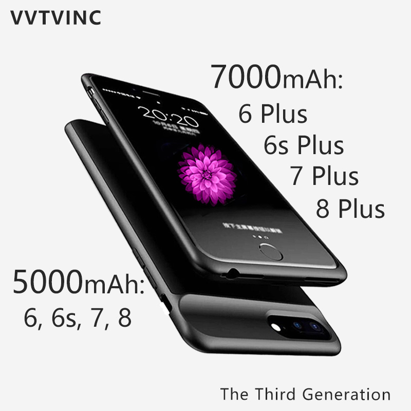 VVTVINC Charging Case 7000 5000mAh Battery Charger Case Power Case For iPhone 7 7 Plus 6s Plus 6s 6 6 Plus 8 8 Plus Power BankVVTVINC Charging Case 7000 5000mAh Battery Charger Case Power Case For iPhone 7 7 Plus 6s Plus 6s 6 6 Plus 8 8 Plus Power Bank