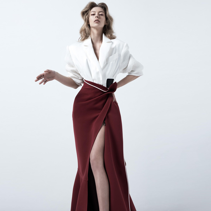 Milan Runway Designer New Fashion High Quality Spring Party Work Sexy White Suit Mermaid Half Skirt