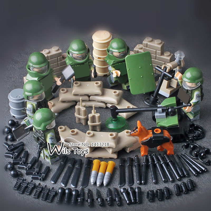 Bomb Disposal Team SWAT Squad World War Military Army Gun Weapon Soldier Building Blocks Bricks Figures Boy Toy Children Gift xinlexin 317p 4in1 military boys blocks soldier war weapon cannon dog bricks building blocks sets swat classic toys for children