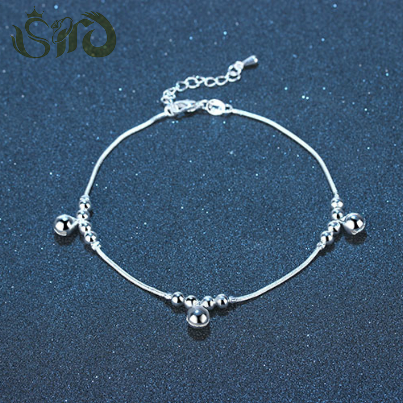 Summer Style Charm Silver Chains Anklet Bell Beads Ankle Bracelet Foot Jewelry Barefoot Sandals Anklets for Women