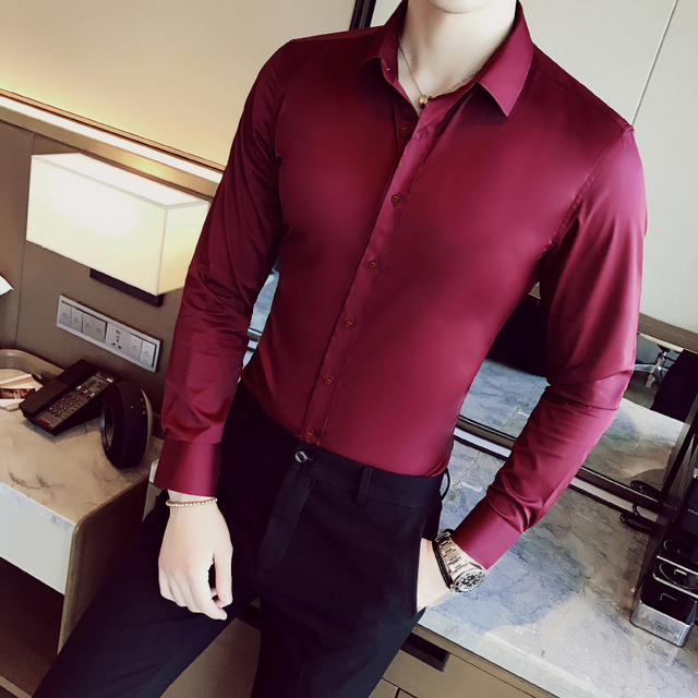 Business Shirts 2018 New Fashion Brand Clothing Mens Long Sleeve Work Shirt Elastic Slim Fit Shirt Big Size S-5XL Casual Shirt 1