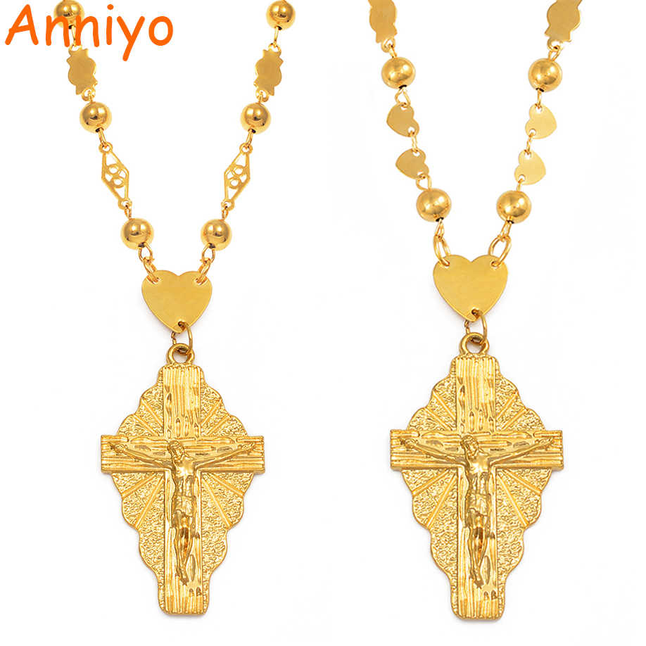 Anniyo 7 Model The Cross Pendant Ball Beads Chain Necklaces Men Women Hawaii Micronesia Chuuk Marshall Jewelry Crosses #192306P