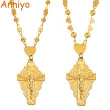Anniyo 7 Model The Cross Pendant Ball Beads Chain Necklaces Men Women Hawaii Micronesia Chuuk Marshall Jewelry Crosses #192306P