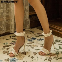TINGHON Sexy Fashion Women Fold Ruffles Sandals Summer shoes Solid Lace-Up Ankle Strap High Heels