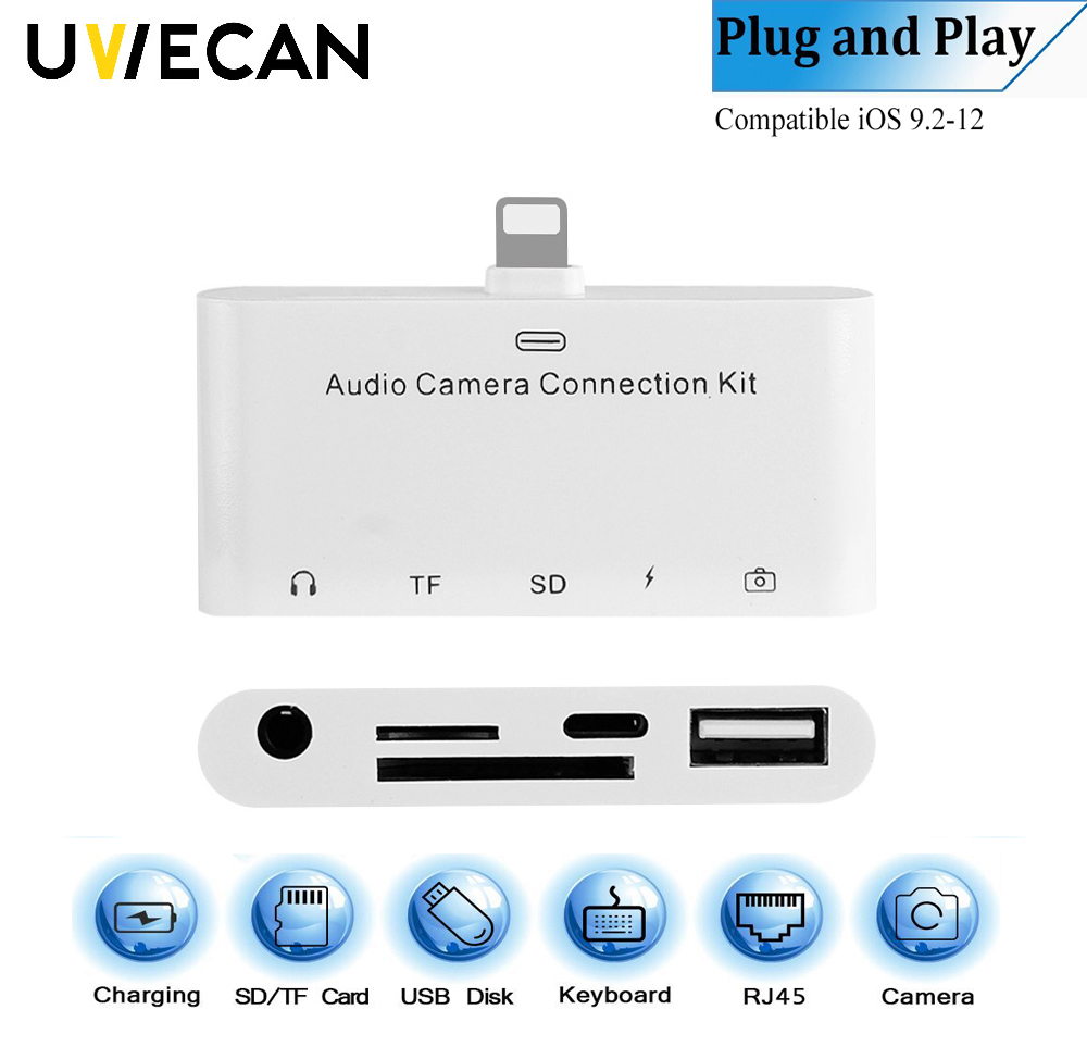 5 In 1 For Lightning To Audio Camera Reader Adapter 8 Pin to TF/SD Card Reader 3.5MM AUX Headphone Jack For iPhone 5 6 7 7P 8P X 3 in 1 for lightning to 3 5mm audio jack adapter dual for lightning aux earphone jack conveter for iphone x 8 plus 8 7 ios 9 12