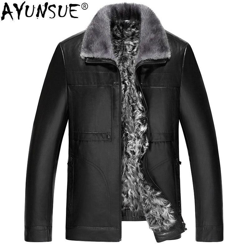 AYUNSUE Genuine Leather Jacket Winter Jacket Men Natural Wool Fur Liner Goatskin Coat Mink Fur Collar Jacket JLK18GT1718 Y1343