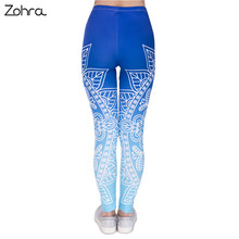 Women Legins Mandala Ombre Blue Printing Legging Fashion Casual High Waist Woman Leggings