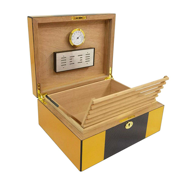 Exquisite Luxury Mirage Black Large Capacity Cedar Wood Cigar Humidor with Free Gift
