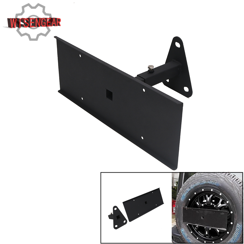 High Quality Black Steel Rear Spare Tire Holder License Plate Relocation Bracket Mount for Jeep Wrangler JK 2007-2017 #CEK096 car styling top mount hardtop rear grab handle bar front rear interior parts metal for jeep wrangler 2007 later
