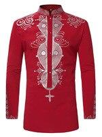 2018 new men's ethnic print long sleeved collar shirt