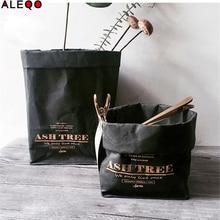 Черное крафт-бумага хранение мешков моющийся североевропейский стиль мешок для выращивания овощей и цветок хранение сумки для дома